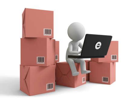 purchase order: El comercio en línea de un pueblo es el uso de la computadora en varias cajas Foto de archivo