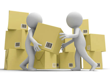 manual job: Deliver package A people delivering package to the other