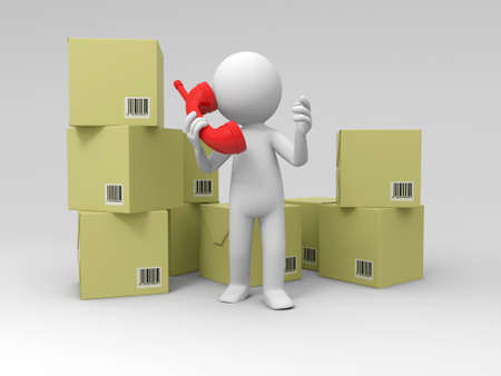 paper delivery person: Contact phone A people speak by phone in front of some boxes Stock Photo