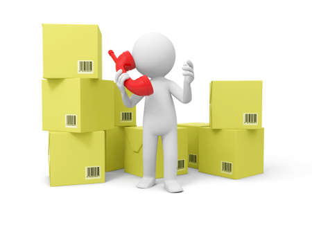 package sending: Contact phone A people speak by phone in front of some boxes Stock Photo