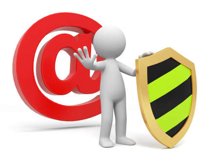 Email shield A people standing in front of the @ sign with a shield Stock Photo - 15430431