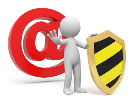 Email shield A people standing in front of the @ sign with a shield Stock Photo - 15430434