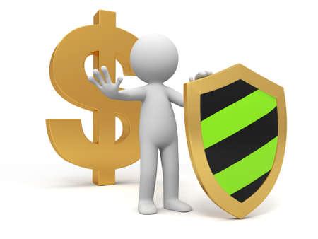 trustworthy: dollar shield A people standing in front of the dollar sign with a shield