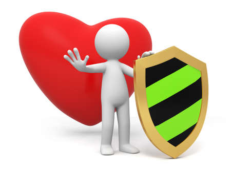 heart shield love A people standing in front of a heart with a shield Stock Photo - 15430271