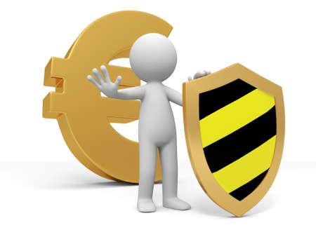 Symbole de l'euro bouclier Un peuple debout devant le symbole de l'euro avec un bouclier