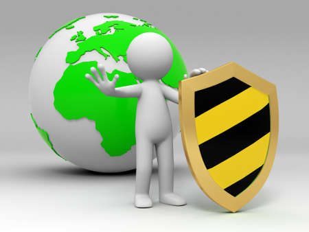 internet safety: earth shield A people standing in front of the earth with a shield Stock Photo