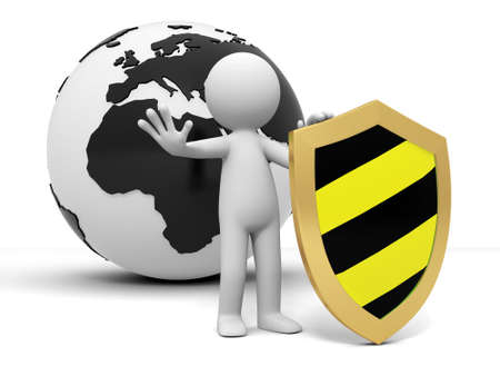 antivirus: earth shield A people standing in front of the earth with a shield Stock Photo