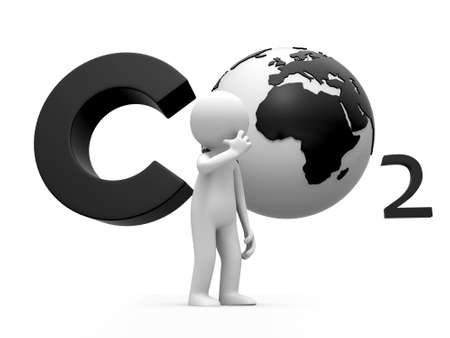 carbon pollution: Co2 earth A people standing in front of the CO2 symbol thingking