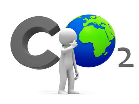 greenhouse gas: Co2 earth A people standing in front of the CO2 symbol thingking