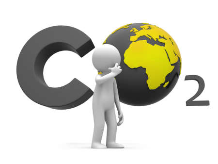 emissions: Co2 earth A people standing in front of the CO2 symbol thingking