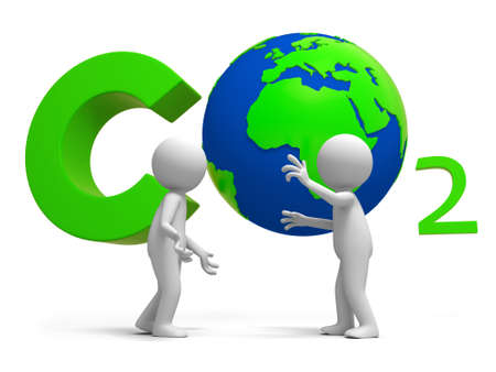 emissions: Co2 earth two people stand in front of the CO2 symbol talking