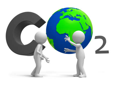 greenhouse gas: Co2 earth two people stand in front of the CO2 symbol talking
