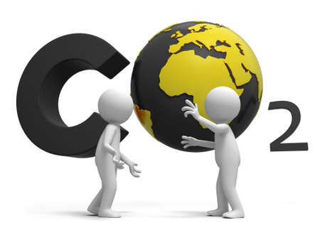 Co2 earth two people stand in front of the CO2 symbol talking photo