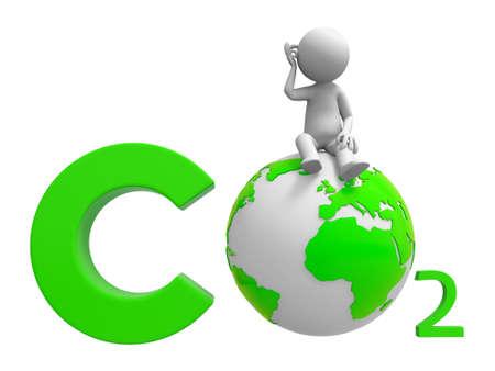 dioxido de carbono: Co2 tierra un pueblo de pie en un símbolo de CO2