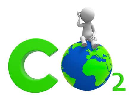 contaminacion ambiental: Co2 tierra un pueblo de pie en un símbolo de CO2