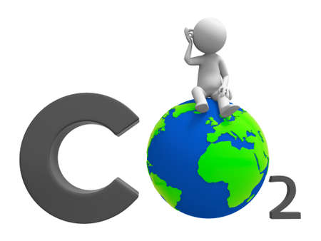 greenhouse effect: Co2 earth A people standing on a CO2 symbol