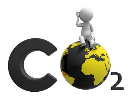 greenhouse gas: Co2 earth A people standing on a CO2 symbol