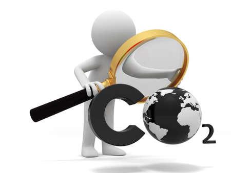 kassen: Co2 aarde Een volk zich aan een CO2-symbool met een Vergrootglas
