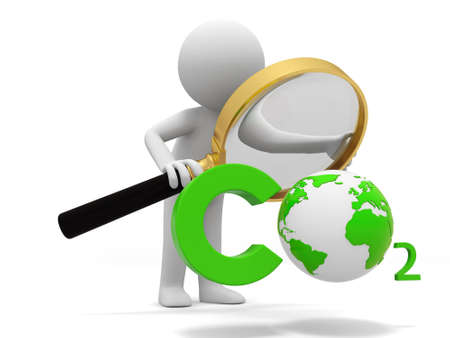 Co2 earth A people observe a CO2 symbol with a Magnifying glass photo