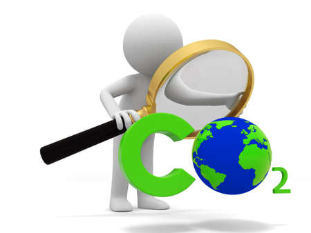 clean air: Co2 earth A people observe a CO2 symbol with a Magnifying glass Stock Photo