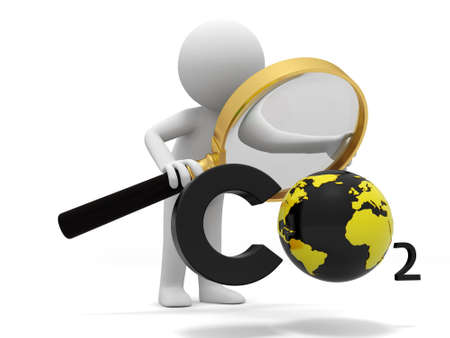 greenhouse gas: Co2 earth A people observe a CO2 symbol with a Magnifying glass Stock Photo