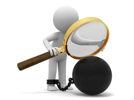 burden  Magnifying glass iron ball A people observe the heavy iron with a Magnifying glass Stock Photo - 15430121