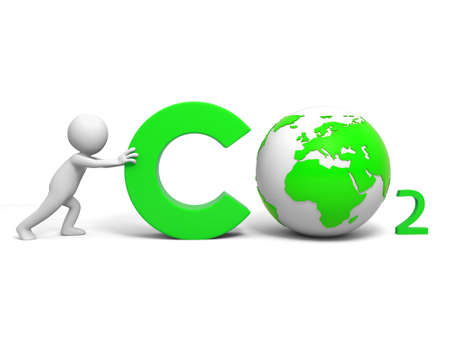 3d carbon: CO2  Environmental protection  A people in pushing the CO2 symbol