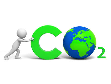 CO2  Environmental protection  A people in pushing the CO2 symbol photo