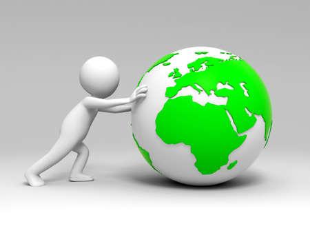 pushing: De aarde een volk in het indrukken van de aarde Stockfoto