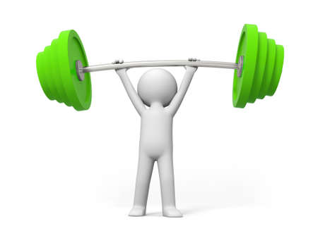 Weightlifting win A people lift the weight Stock Photo - 15429978