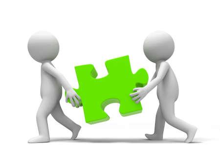 jigsaw pieces: Jigsaw  puzzle  Two people carried a Jigsaw
