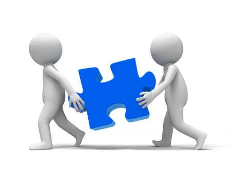 teamwork cartoon: Jigsaw  puzzle  Two people carried a Jigsaw