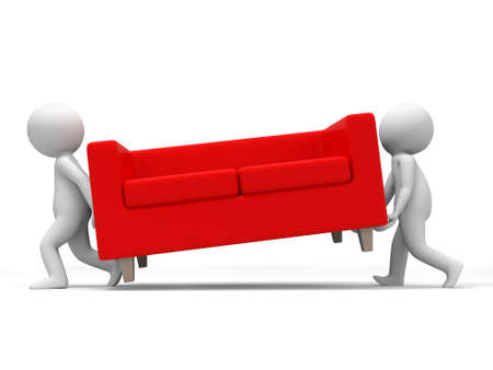red couch: Sofa  Two people carried a sofa