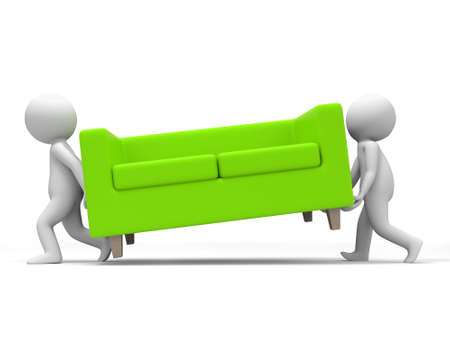 red sofa: Sofa  Two people carried a sofa