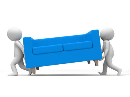 carried: Sofa  Two people carried a sofa