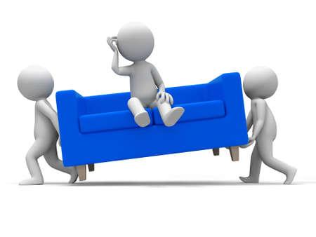 move: Sofa  Two people carried a sofa