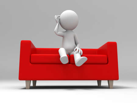 articles of furniture: Sofa  a people sitting on  the sofa Stock Photo