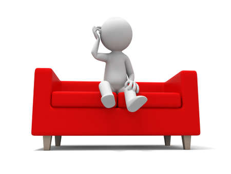 furniture isolated: Sofa  a people sitting on  the sofa Stock Photo