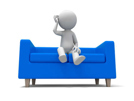 man couch: Sofa  a people sitting on  the sofa Stock Photo