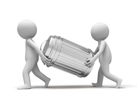 carried: Trash can Two people carried a Trash can Stock Photo