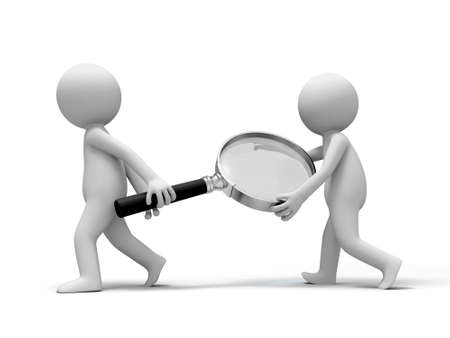 inspect: Magnifying glass  Two people carried a Magnifying glass