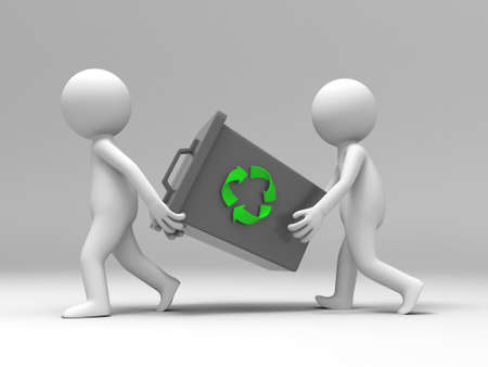 recycling  Trash can Two people carried a Trash can Stock Photo - 15429599