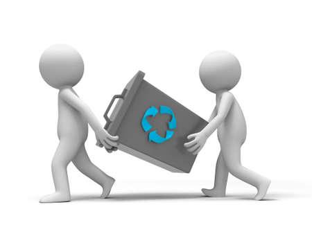 trash basket: reciclaje de basura pueden dos personas lleva un bote de basura Foto de archivo