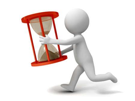 personas corriendo: Reloj de tiempo a un pueblo que se ejecutan con un reloj de arena