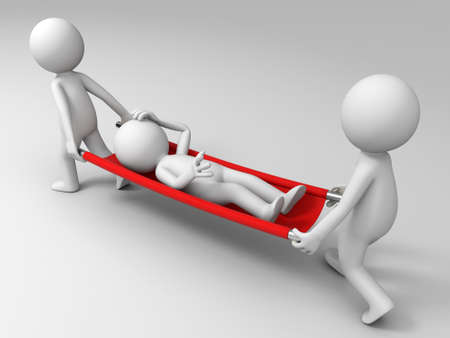 stretcher: Aid  patient  three people carrying the patient