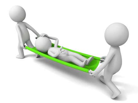 medische kunst: Hulp patiënt drie mensen die de patiënt