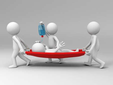 환자: 환자를 운반하는 환자 3 명이 도움 스톡 사진