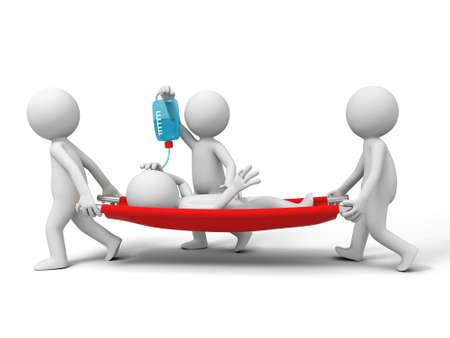 hospital cartoon: Aiuti paziente tre persone che portano il paziente