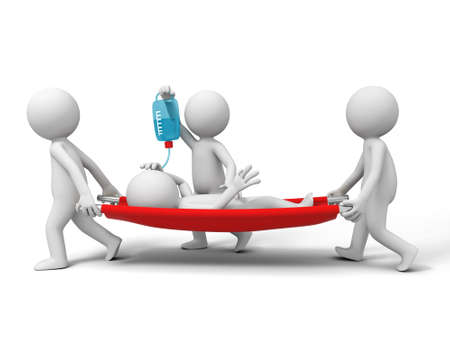 emergencia medica: Ayuda Al Paciente tres personas portadoras del paciente