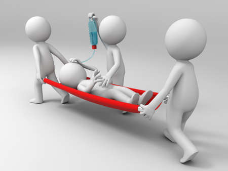 cartoon accident: Aid  patient  three people carrying the patient
